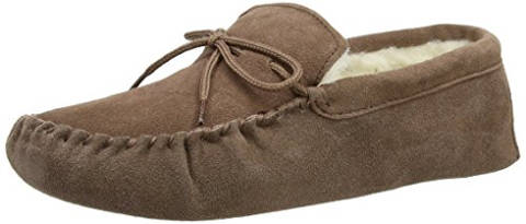 SnugRugs Men's Suede Sheepskin Moccasin Slippers