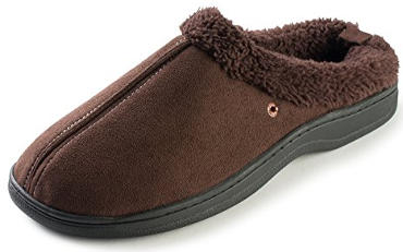 J. Fiallo Men's Stitched Faux Suede, Fleece Lined Clog Slippers