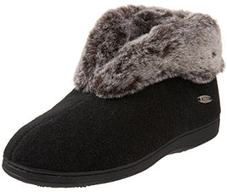ACORN Women's Faux Chinchilla Bootie Slipper