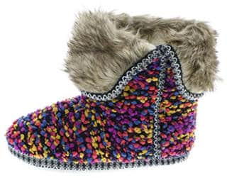 Isaac Mizrahi Women's Bootie Slipper with Fur Cuff