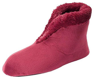 Dearfoams Women's Velour Bootie with Boa Flat