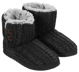 Dearfoams Women's Memory Foam Sweater Knit Indoor/Outdoor Bootie Slipper