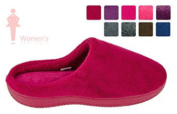 MOXO Women's & Men's Coral Fleece Memory Foam Clog Slippers