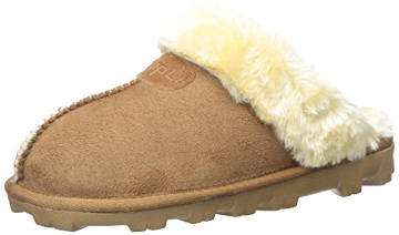 Clipp'li Women's Suede Mules with Faux Fur
