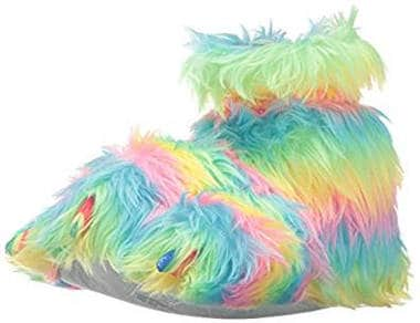 Trimfit Girls Rainbow Plush Fuzzy Paw Slippers