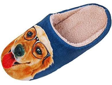 HW-GOODS Men's and Women's Dog Print Scuff Slippers