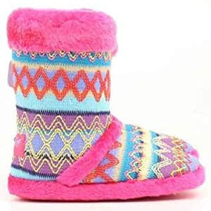 Blazin Roxx Girls' Colourful Woven Slipper Booties