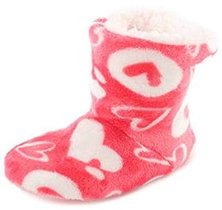 Cute bootie style slippers with hearts