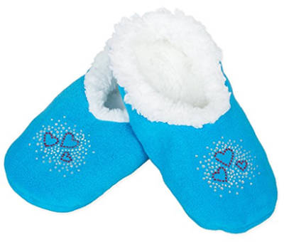 Kids Rhinestone Sherpa Fleece Blue Slippers with Hearts