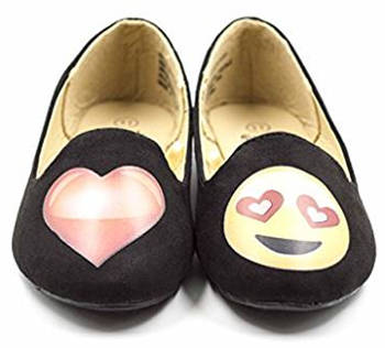 Girl's Emoji Heart Smiley Smoking Slipper Flats