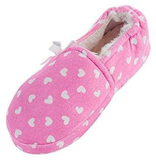 LA PLAGE Girl's Cotton Indoor Slippers with Loving Heart