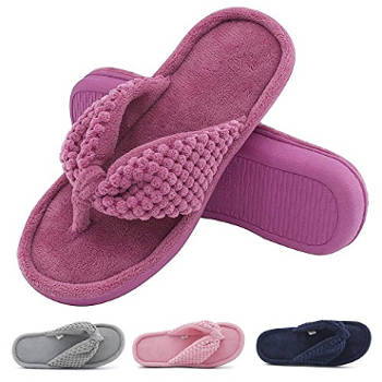 Women's Cozy Memory Foam Plush Gridding Velvet Lined Spa Thong Slipper