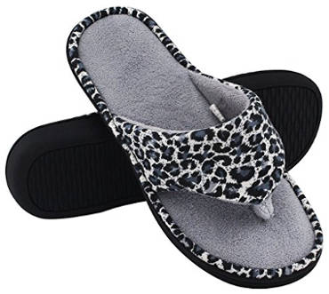 HomeTop Women's Leopard Memory Foam Spa Thong Slipper