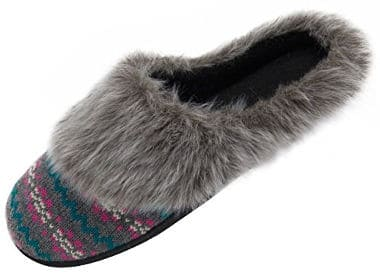 HomeTop Women´s Faux Fur Cashmere Knitted Clog slippers
