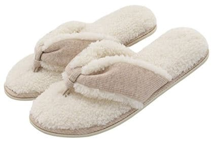 Women's French Terry Plush Spa Thong Indoor Slippers