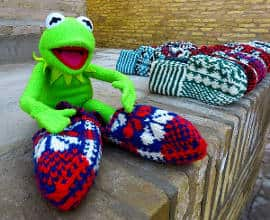 Kermit wearing slipper socks
