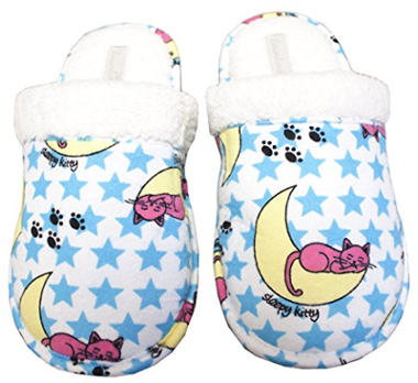 Leisureland Women's Flannel Slippers with Sleepy Kitty Cat