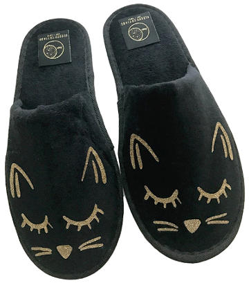 Cozy Black and Gold Cat Slippers
