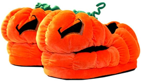 Jack O'Lantern Orange Pumpkin Plush Slippers by Toy Vault