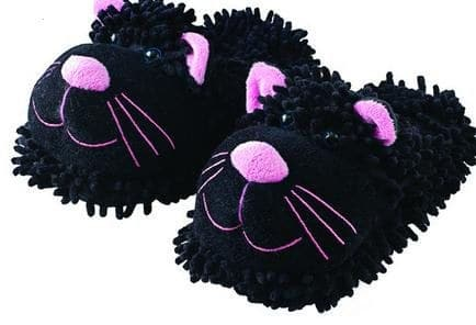 Aromahome Aromahome Fuzzy Feet Black Cat Slippers
