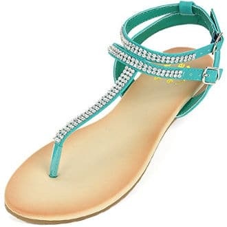 Alpine Swiss Rhinestone Thong Sandals
