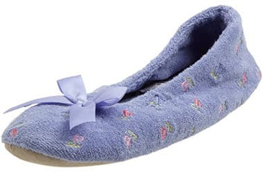 Isotoner Women's Embroidered Terry Ballerina Slippers