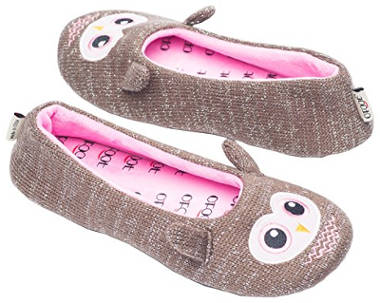 Ofoot Women's Fleece Indoor Ballerina Slippers