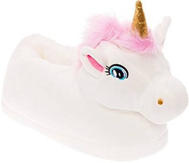 Silver Lilly Unicorn Plush Slippers