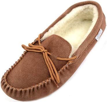 Snugrugs men's suede sheepskin moccasin slipper