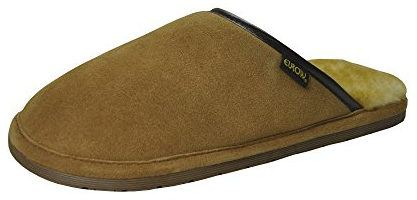Eurow Men's Hardsole Sheepskin Scuff Slipper
