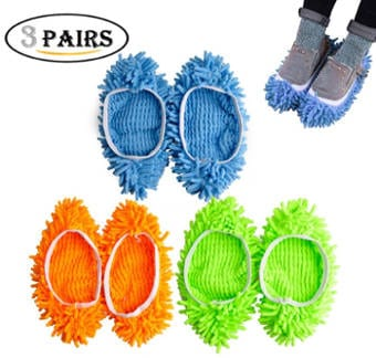 Kamlif 3 Pairs Washable Dust Mop Slippers