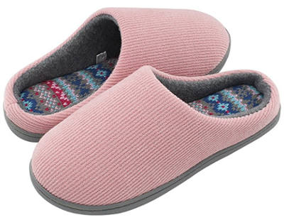 HomeIdeas Women's Distinctive Slippers with Colour Stripe