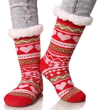 Dosoni Women's Snowflake Christmas Stockings Slipper Socks