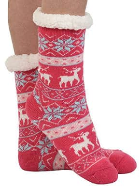 Snoozies women's knit festive winter slipper socks