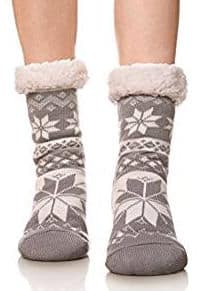 Women's Snowflake Winter Slipper Socks by Velice