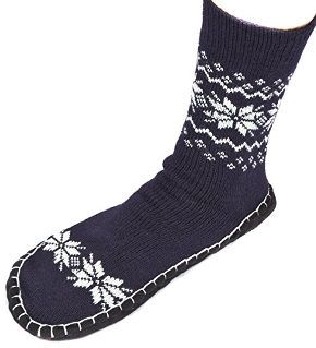 Leisureland Men's Knitted Slipper Socks with Snowflakes