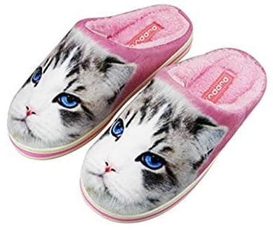 Cat fleece slippers