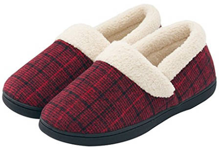 HomeIdeas Women's Woolen Fabric Plaid House Slippers