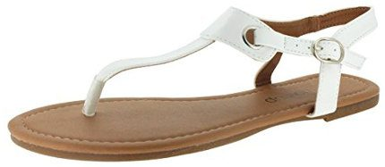 Sandal Up Women's Claire Thong Flat Sandals with Buckle