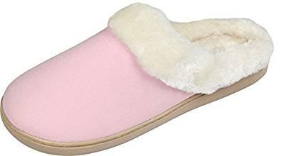 Pink fleece slippers