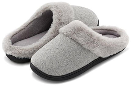 HomeIdeas Women's Woolen Fabric Memory Foam Anti-Slip House Slippers