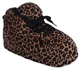 Happy Feet Men's and Women's Standard Sneaker Slippers in Leopard Print