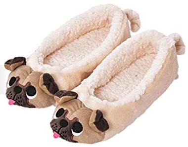 MiYang Winter Women's Plush Pug Dog Slippers