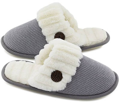 HomeTop Women's Fuzzy Knitted Memory Foam Slip On House Slippers