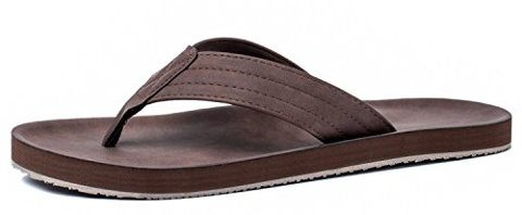 VIIHAHN Men's Flip-Flops Leather Beach Slippers