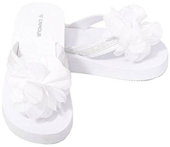 L'Amour White Sequin Strap Flower Flip Flop for Little Girls