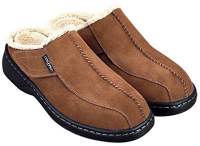 Orthofeet Asheville Men's Orthopedic Brown Leather Slippers