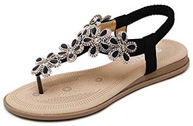 Women's Bohemian Glitter Summer Flat Sandals by DolphinBanana