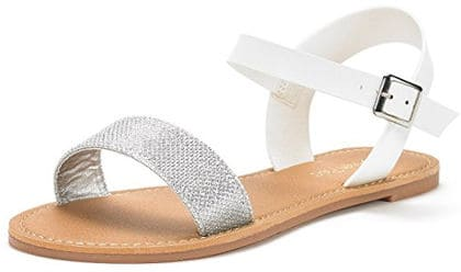 DREAM PAIRS Women's Open Toes Summer Flat Sandals