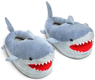 Chomping Shark Plush Slippers for Adults